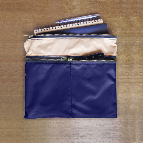 4,Zip,Pocket,Gadget,Pouch,,Navy,pouch,organizer,case,pen,gadget,ipad,iphone,nylon,waterproof,navy,khaki