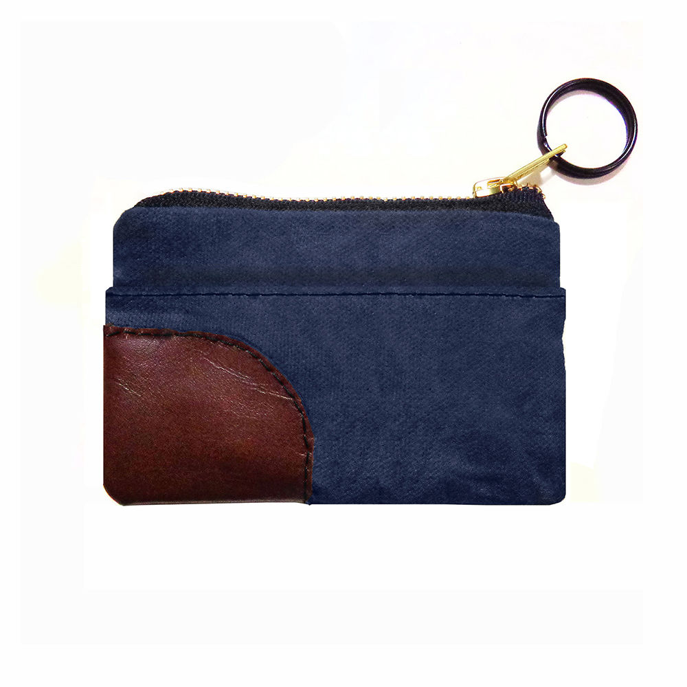 Zipper iPhone, PDA, Wallet Keyring Organizer - Waxed Canvas Navy - product images  of