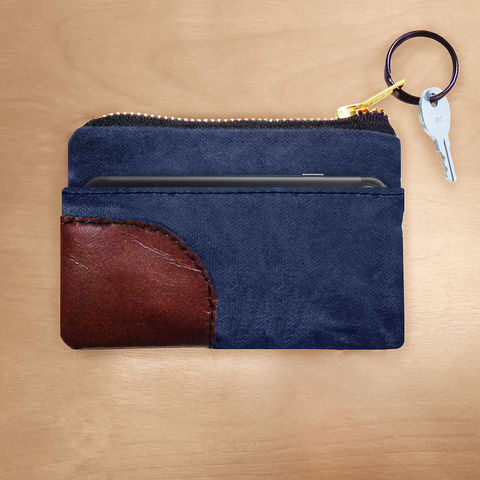 Zipper,iPhone,,PDA,,Wallet,Keyring,Organizer,-,Waxed,Canvas,Navy,keyring, wallet, pouch, waxed canvas, leather, brass, brown, navy