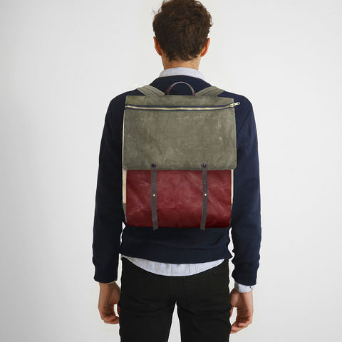 Convertible,Laptop,Backpack,,Pannier,-,Safari,convertible,pannier,Backpack,laptop,waxed,canvas,leather,rucksack,safari,olive,red