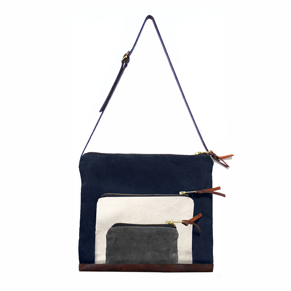 Waxed Canvas Stacked Satchel, Adjustable Leather Straps - Navy - product image