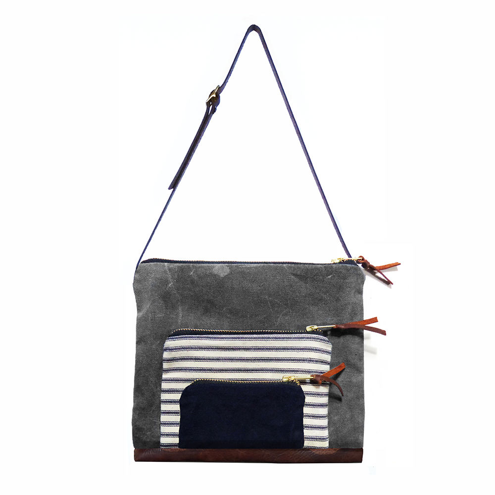 Waxed Canvas Stacked Satchel, Adjustable Leather Straps - Stripe - product image