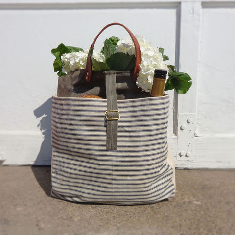 Expandable,Pop,Market,Tote,w/,Leather,Handles,-,Blue,Stripes,and,Olive,market,shopper,tote, bag, waxed_canvas, waxed, canvas,ticking,mclovebuddy,leather, military, utilitarian, brass, blue, olive