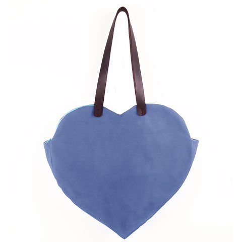 Waxed,Canvas,Heart,Tote,-,Blue,waxed_canvas,tote,leather,heart,valentines,candy_hearts,blue