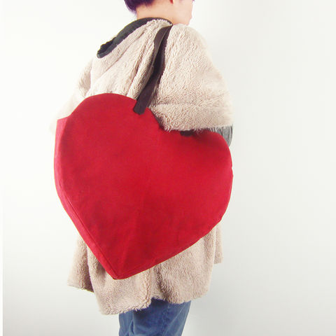 Waxed,Canvas,Heart,Tote,-,Red,waxed_canvas,tote,leather,heart,valentines,candy_hearts,red