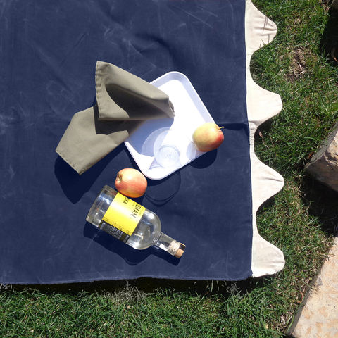 Wave,Picnic,and,Beach,Blanket,,Navy,Waxed,Canvas,waxed_canvas, waxed_cotton, picnic_blanket, beach_blanket, picnic, beach, blanket, farmers_market, leather_straps, wave, navy, blue
