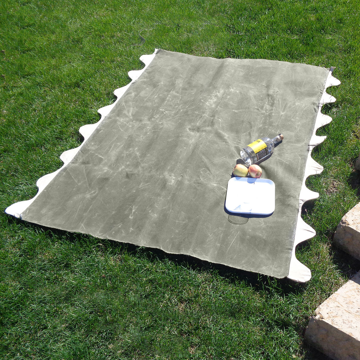 Wave Picnic and Beach Blanket, Olive Waxed Canvas - product images  of