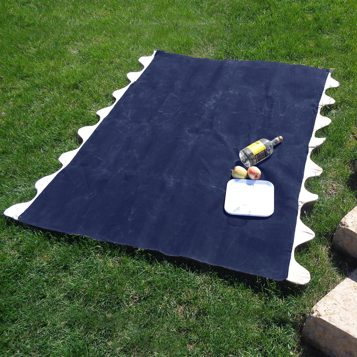 Wave Picnic and Beach Blanket, Navy Waxed Canvas - product images  of