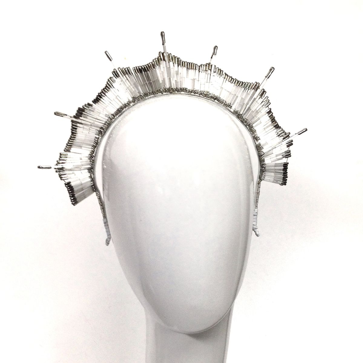 Pearl White Safety Pin Bridal Crown - product images  of
