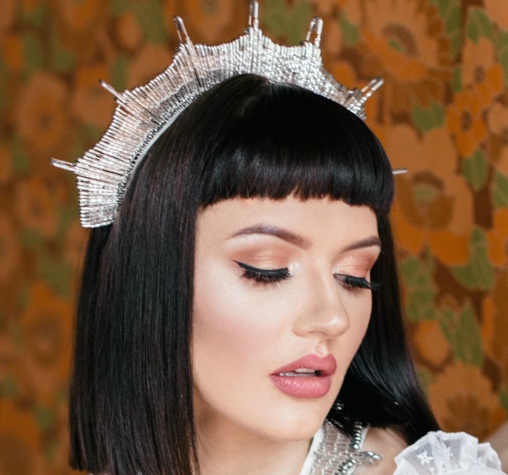 Silver Safety Pin Bridal Crown - product images  of