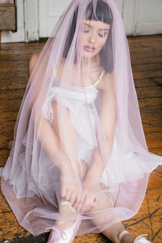 Blush Fingertip Veil - product images  of