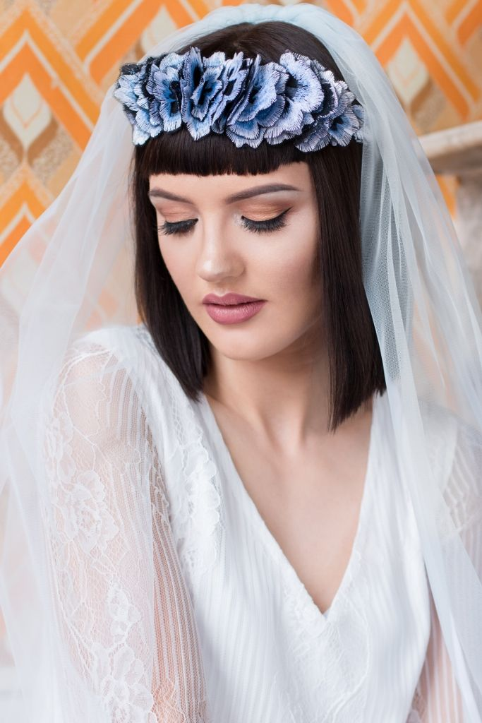 Blue Embroidered Flower Crown - product image