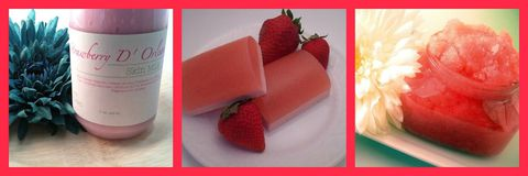 Strawberry,D',Orleans,Bundle, Soap, Scrub, Lotion, gift, set, Christmas, holiday, sale, bundle, pink