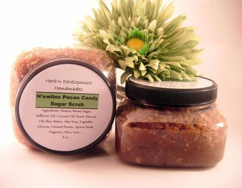 N'awlins,Pecan,Candy,Sugar,Scrub,Bath_and_Beauty,Bath,body,scrub,fragrance,oil,sugar,vegan,exfoliate,shower,massage,herbndevelopment,herbn_development,new_orleans,Praline,turbindo_sugar,ground_pecans,sunflower_oil,shea_butter,coconut_oil,castor_oil,vegetable_glycerin,mica