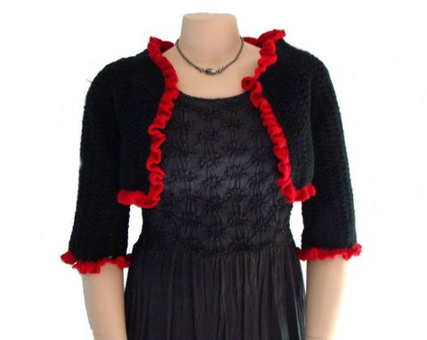 Plus,Size,Shrug,,Bolero,XL,,XXL,or,1X,in,Black,Cashmere,,Crocheted,Shrug,plus size sweater, sweater plus size, womens sweater, sweaters women, handmade, designer sweater, stylish plus size, plus size fashion, cashmere,black cashmere,black shrug,shrug,bolero,XL,1x,crochet sweater,knit sweater