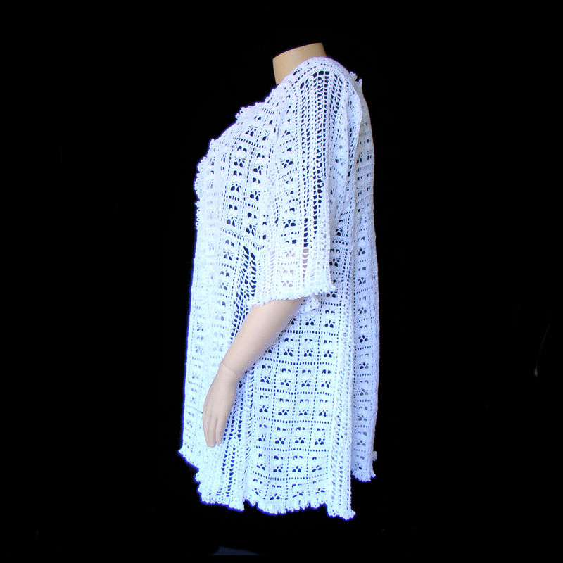 Plus Size Lace Cardigan,  Hand Crocheted Lace Cardigan,  4X 5X, Plus Size Wedding - product images  of