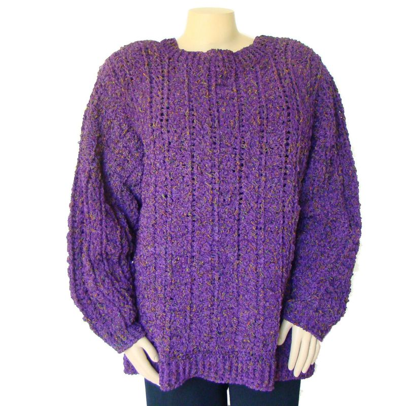 Plus Size Fisherman Sweater 2X - 3X, Plus Size Irish Sweater, Purple Aran Sweater - product images  of 
