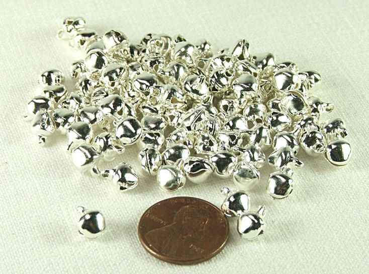 Tiny Bells 100 pieces 6mm Silver Plated Steel Jewelry Craft Supply Holiday bells ringing Bell charms - product images  of