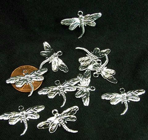 Dragonfly,Charms,(10,pieces),Silver,plate,insect,Drop,26x15mm,Animal,Charm,Jewelry,Supply,Craft,dragonfly charms, silver dragonfly charms, animal charm, insect charm, brass charms