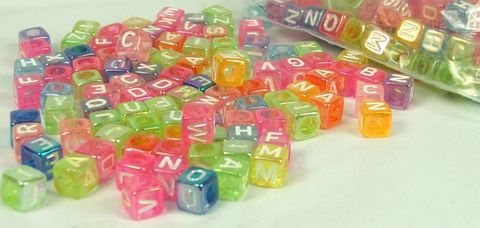 Letter,Bead,Rainbow,Colors,6mm,Cube,Alphabet,Beads,Letter beads, alphabet beads, cube letter beads, square alphabet beads, color mix beads, plastic letter beads