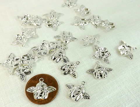 Angel,Charm,25,pieces,silver,plate,cherub,celestial,jewelry,supply,Jewelry making charms, celestial charms, silver cherub charms, silver angel charms, jewelry supplies
