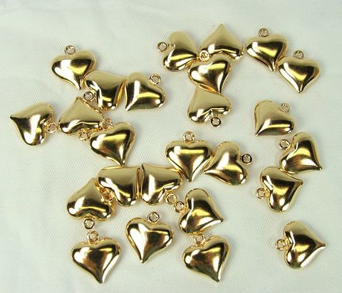 Puffy,Heart,Charms,12mm,25,pieces,gold,plated,jewelry,making,supply,jewelry making supply, puffy heart charms, 12mm gold plated hearts