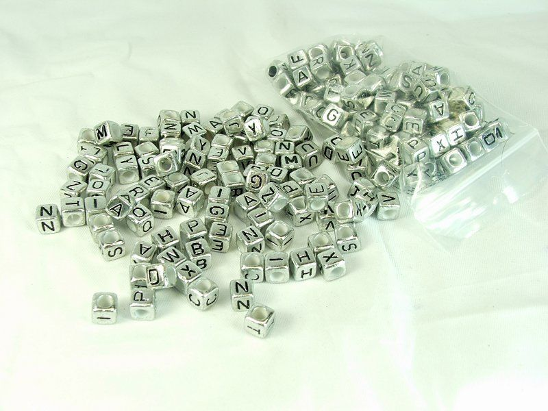 Silver Cube Alphabet Beads 200 pieces plastic letter beads personalized jewelry making supply - product images  of