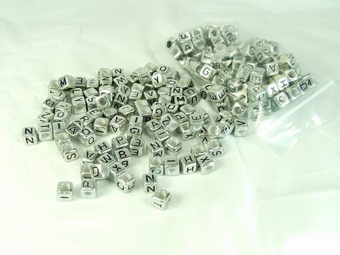 Silver,Cube,Alphabet,Beads,200,pieces,plastic,letter,beads,personalized,jewelry,making,supply,personalized jewelry making supply, square letter beads, cube alphabet beads, silver letter beads