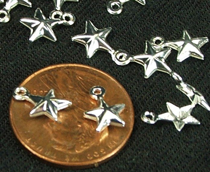 6mm star charms 25 pieces silver stars celestial themed jewelry making supply - product images  of