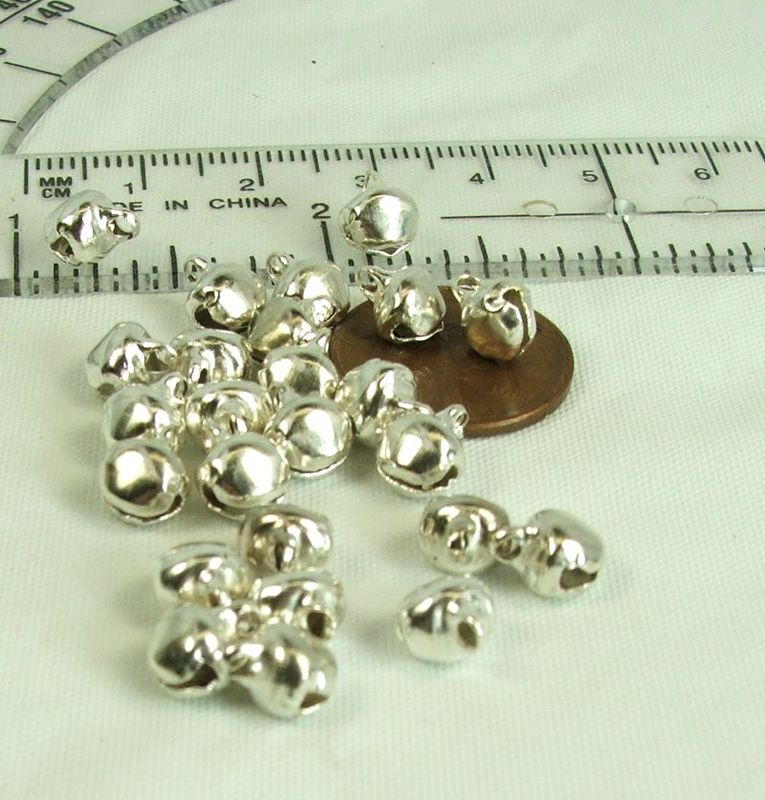 6mm silver jingle bells 25 pieces tiny bells for crafts and jewelry making - product images  of