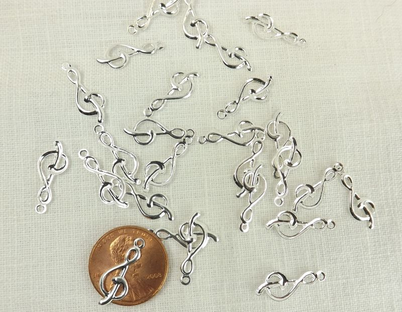 Treble Clef Charms 25 pieces Silver plated Brass 16mm musician's charms jewelry making - product images  of