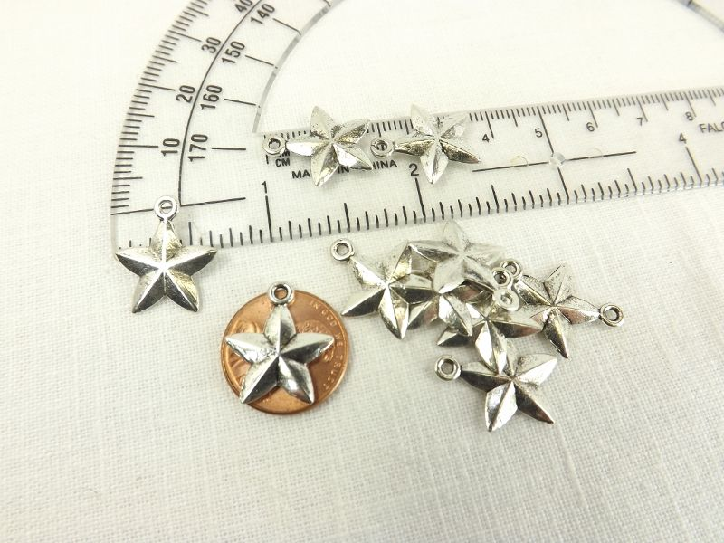 Five pointed silver star 15mm rustic two sided star charms celestial jewelry making supply - product images  of