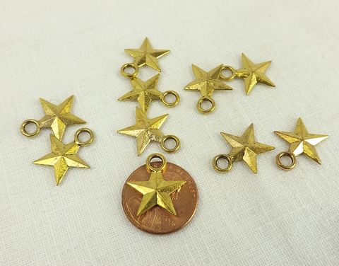 Patriotic,star,charms,15mm,gold,plate,stars,jewelry,making,rustic,five pointed gold star, patriotic star charms, two sided star charms, rustic gold stars, patriotic jewelry making supply, celestial charms