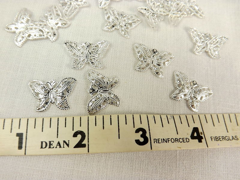 Filigree Butterfly Charm 20 pieces Silver plate insects 21 mm Animal Charm Jewelry Supply Craft Supply filigree charm - product images  of