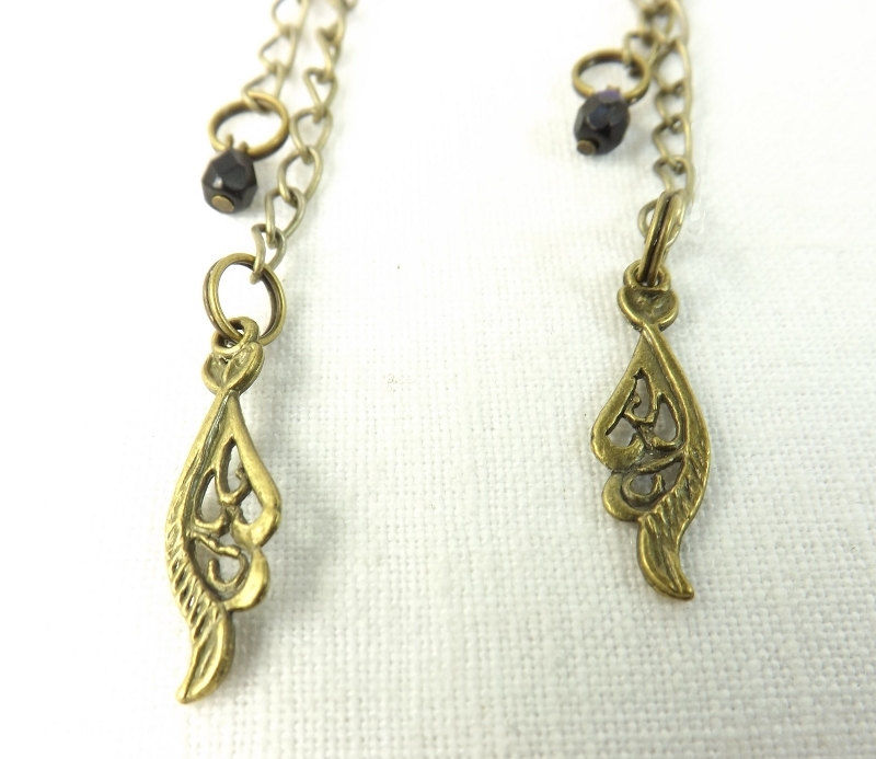 Boho Earrings Jet Crystals Feather Charm Womens Dressy Dangle My Pretty Muse