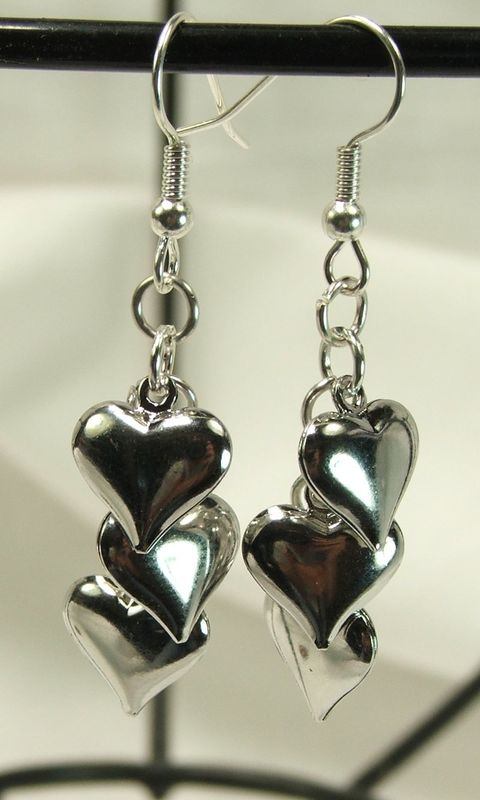 Puffy Hearts Earrings Cer Earings Dangle Gift For Her Product Images Of