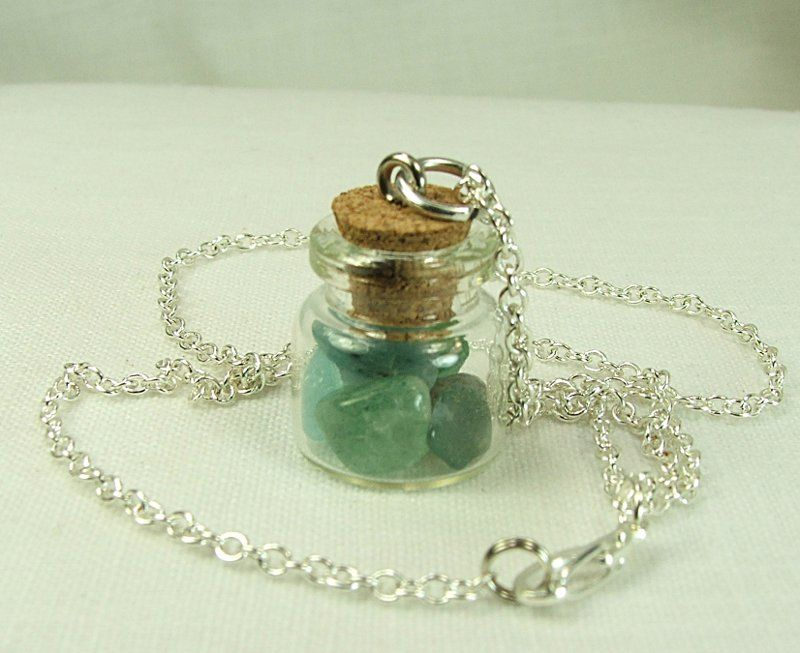 Glass jar pendant filled with gemstone chips in greens browns and glass jar pendant filled with gemstone chips in greens browns and blues on 18 inch chain mozeypictures Choice Image