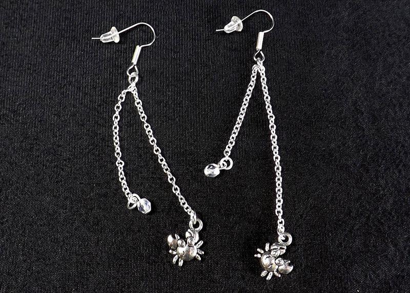 Crab Earrings Long Dangle Chain Ocean Jewelry Beach My Pretty Muse