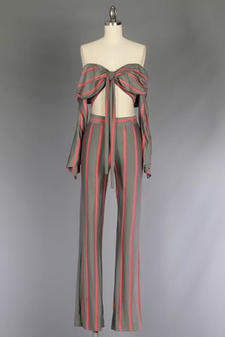 MIAMI,DADE,STRIPED,TWO,PIECE,JUMPSUIT