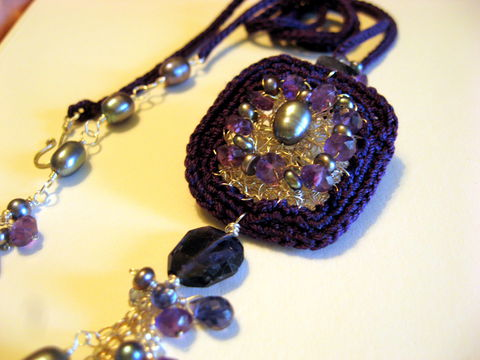 **holiday,sale**,Violet,Dream,Hand,Crocheted,Perfume,Locket,of,Sterling,Silver,and,Eggplant,Silk,with,Pearls,,Iolite,Amethyst,Jewelry Necklace Locket wedding violet hand crocheted luxe stones heirloom scent locket poison pendant ornate silk essential oil witchy gothic sterling silver violet silk grey freshwater pearls iolite amethyst fine silver wire precious attars