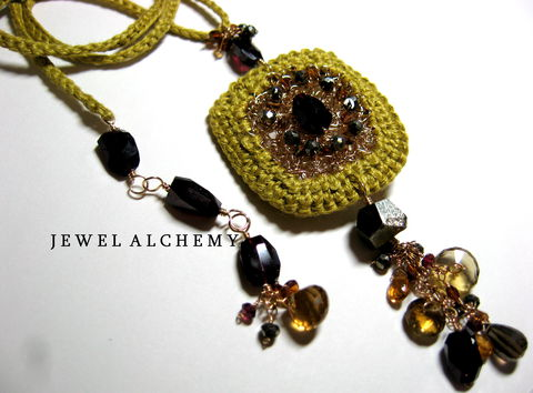 Cynthia,Crocheted,Linen,Perfume,Locket,with,Garnets,Tourmaline,and,Smoky,Quartz,Jewelry Necklace Locket wedding ochre hand crocheted luxe stones heirloom scent locket poison pendant ornate silk essential oil witchy gothic precious attars 14k goldfill garnets smoky quartz oro verde quartz pyrite tourmaline