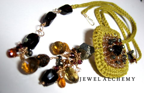 **holiday,sale**,Cynthia,Crocheted,Linen,Perfume,Locket,with,Garnets,Tourmaline,and,Smoky,Quartz,Jewelry Necklace Locket wedding ochre hand crocheted luxe stones heirloom scent locket poison pendant ornate silk essential oil witchy gothic precious attars 14k goldfill garnets smoky quartz oro verde quartz pyrite tourmaline