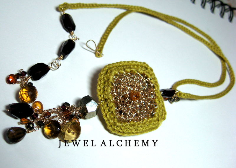 **holiday sale**  Cynthia Crocheted Linen Perfume Locket with Garnets Tourmaline and Smoky Quartz - product images  of