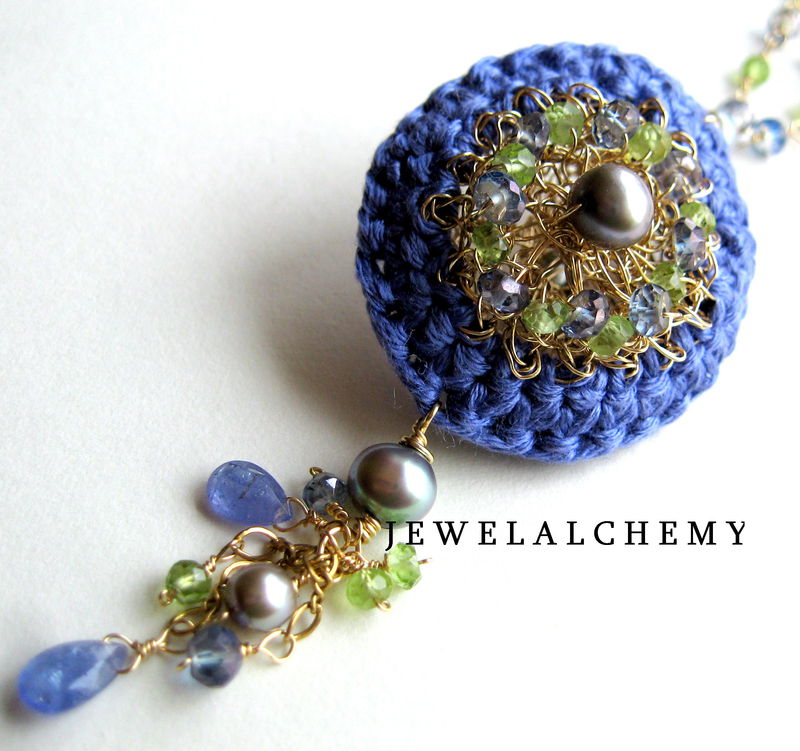 **holiday sale**  Marianne Crocheted Silk and Goldfill Wire Scent Locket with Tanzanite, Peridot, Grey Pearls and Mystic Blue Topaz - product images  of