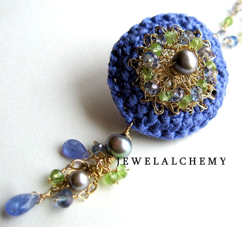 Marianne,Crocheted,Silk,and,Goldfill,Wire,Scent,Locket,with,Tanzanite,,Peridot,,Grey,Pearls,Mystic,Blue,Topaz,perfume Jane Austen  Jewelry Necklace Locket perfume locket scent locket luxe gemstones hand crocheted silk grey pearls artisan made perfume modern heirloom peridot goldfill wedding   periwinkle silk goldfill wire tanzanite grey freshwater pearls peridot
