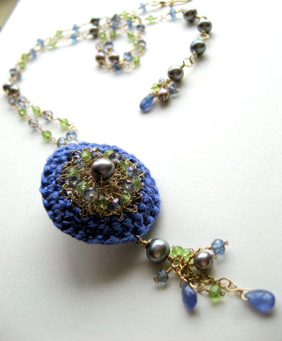 **holiday,sale**,Marianne,Crocheted,Silk,and,Goldfill,Wire,Scent,Locket,with,Tanzanite,,Peridot,,Grey,Pearls,Mystic,Blue,Topaz,perfume Jane Austen  Jewelry Necklace Locket perfume locket scent locket luxe gemstones hand crocheted silk grey pearls artisan made perfume modern heirloom peridot goldfill wedding   periwinkle silk goldfill wire tanzanite grey freshwater pearls peridot