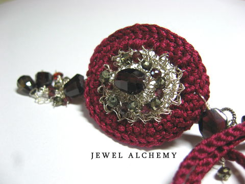 **holiday,sale**,Lucy,Crocheted,Sterling,&,Silk,Scent,Locket,with,Garnets,,Pyrite,and,Smoky,Quartz,Jewelry Necklace Locket scent locket perfume sterling silver hand crocheted silk garnets artisan made faceted pyrite poison pendant burgundy gothic medieval LUXE perfume locket sterling silver wire burgundy silk faceted garnets faceted pyrite smoky quartz