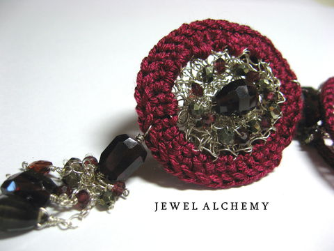 Lucy,Crocheted,Sterling,and,Silk,Perfume,or,Scent,Locket,with,Garnets,,Pyrite,Smoky,Quartz,Jewelry Necklace Locket scent locket perfume sterling silver hand crocheted silk garnets artisan made faceted pyrite poison pendant burgundy gothic medieval LUXE perfume locket sterling silver wire burgundy silk faceted garnets faceted pyrite smoky quartz