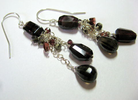 **holiday,sale**,Lucy,Sterling,Silver,Dangle,Earrings,with,Garnets,,Smoky,Quartz,and,Pyrite,garnet, earrings, smoky quartz, pyrite, boho jewelry, bohemian, gothic, witch, jewelalchemy, jewel alchemy, handmade, artisan made