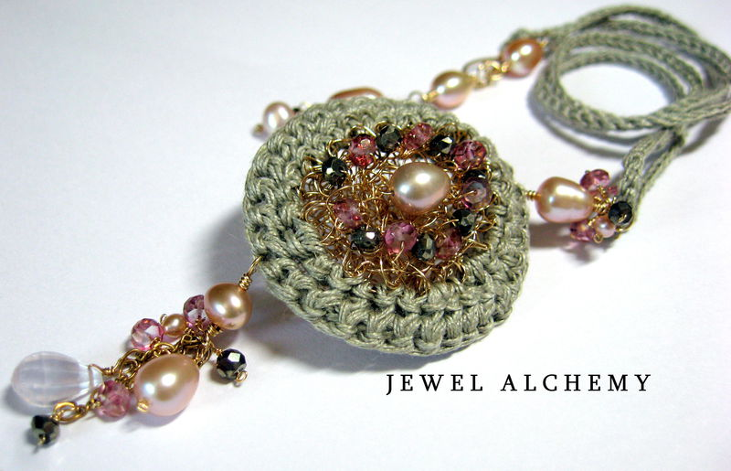 **holiday sale** Elinor Perfume or Scent Locket: Crocheted with Raw Linen, Pearls and Pyrite - product images  of